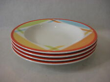 Set Of 4 Villeroy & Boch Luxembourg Bonjour Monsieur Multicolor Soup Bowl Plates