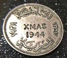 Rare 1938 Egypt 10 Milliemes - King Farouk -  Engraved  XMAS 1944  VF condition