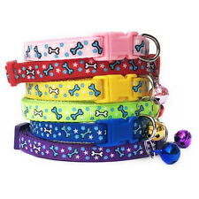 Bones Patterned Adjustable Kitten Cat Collar With Bell And Snap Buckle