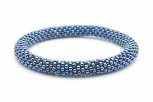 "Sashka Co regular 6-8"" OUTER SPACE Glass Beaded BRACELET blue Nepal Jewelry"
