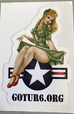 "WWII Bomber Blonde Pinup Girl Nose Art 2""x3"" UV Protected Vinyl Sticker."