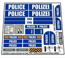 Replica Pre-Cut Sticker for Lego® City Police set 7743 - Police Command Center