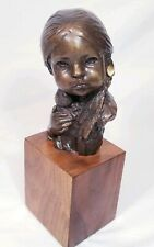 Native American Bronze Sculpture Signed Kwan Wu - Little Indian Girl with Doll
