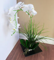 3 Pcs Artificial Plants Butterfly Orchid Flower With Fake Grass (#43)