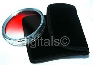 58mm Graduated Red Color Lens Glass Filter Screw-in Half Red Half Clear Coated