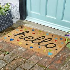 Hearty Hello Natural Coir Doormat Indoor Outdoor Love Hearts Door Mat 75x45cm