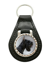 Giant Schnauzer Leather Key Fob