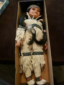 """The Mandy Collection """"Dakota"""" Porcelain Native American/ Indian Doll. New!"""