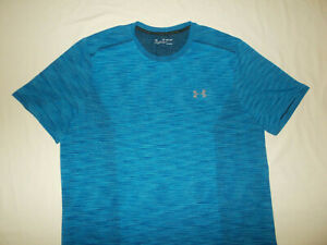 UNDER ARMOUR THREADBORNE SHORT SLEEVE BLUE FITTED TOP MENS 2XL EXCELLENT COND.