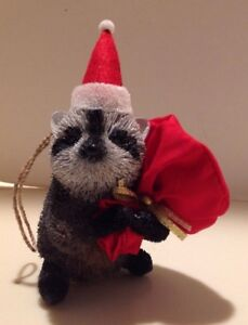 Pottery Barn Santa Raccoon Bottle Brush Ornament ~ Christmas Tree ~New with Tags