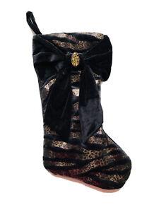 18 In Leopard Ribbon Black Beaded Velvet Christmas Stocking