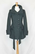 Topshop Smart Green Black Checked Fitted Wool Mix Funnel Neck Coat Size 8