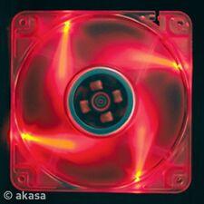 Akasa 120mm Crystal Red Fan, 4 Red LEDs Ball Bearing