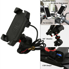 Bike ATV Cell Phone GPS Mount Holder USB Charger For Harley Honda Motorcycle