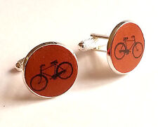 Printed Leather Cufflinks Mens Gift  Bicycle Bike Cycle Cyclist Silver Plated