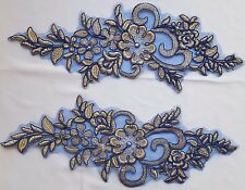 Pair Royal Blue Ecru Floral Embroidery Appliques Motifs Lace Sewing Trim EB0294