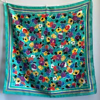 """30"""" Vintage Large Teal Floral Stripe Blue Gold Casual Scarf Bright Happy Pretty"""