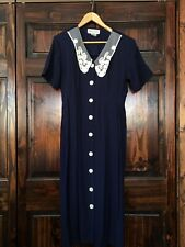Vintage Betsey Lauren Navy Blue Buttons Dress White Lace Collar Sz Small Women's