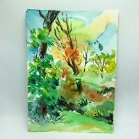 Original Watercolor Painting by MURRAY KESHNER Lush Landscape