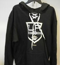 NHL Reebok 50 LA Kings Hooded Lace-Up Hockey Sweatshirt New Mens MEDIUM