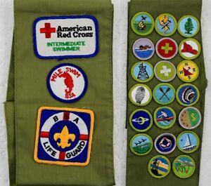 L👀K Boy Scout Merit Sash 👉23 Badges 🌟Rare🌟 Life Guard ⭐ Red Cross ✨ Swimming