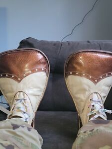 VINTAGE CLOWN SHOES  Real Leather oversized big top heart stitched circus