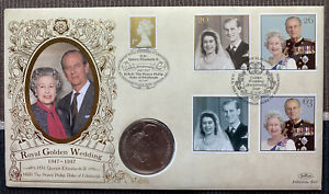 1997 Royal Golden Wedding Anniversary with 1997 £5 coin Benham cover PNC