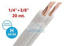 TUBO RAME ISOLATO CONDIZIONAMENTO R410A R32 GIA ACCOPPIATO 1//4+3//8 ROT 25 MT 0,8