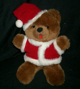 VINTAGE 1984 R DAKIN BROWN CHRISTMAS SANTA TEDDY BEAR STUFFED ANIMAL PLUSH TOY