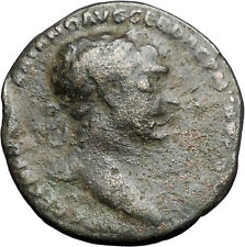 TRAJAN Authentic Ancient Rare Large Roman Coin ROMA Aegis Protection   i47961