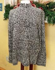 Jones New York Sport XL Pullover Sweater Black Ivory Variegated ½ Zip Chunky L/S