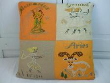 "Large Accent Pillow Cushion Embroidered Zodiac Aquarius Gemini Virgo Aries 18""Sq"
