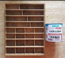 Setzkasten aus Holz  klein mit einer  Dose Lack-Lasur  0,375 l dunkelnußbraun