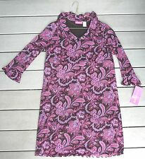 Pink & brown floral poly. knit maternity dress size M long sleeve NEW