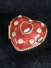 Red Enamel Heart with Rhinestones Trinket Box by E