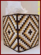 BROWN GOLD WHITE HANDMADE PLASTIC CANVAS TISSUE BOX COVER TOPPER