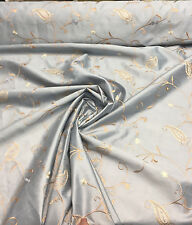 Faux silk Bel air Antique Blue Embroidered Paisley Slub Taffeta Washable Drapery