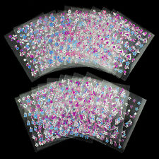 24 SHEETS!! NAIL ART 3D STICKERS SILVER PINK FLOWER 3D DESIGN NAIL STICKERS J166