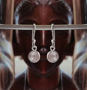 315g Rose Quartz Solid 925 Sterling Silver 6mm Faceted Gemstone Earring rrp$36