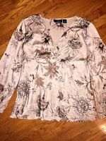 NEW YORK CITY DESIGN COMPANY Floral BLOUSE WOMENS SHIRT Casual Top SIZE XL
