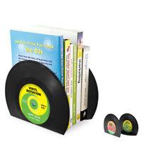 Retro Record Bookend Book Holder Desk Organizer School Office Supplies 2Pcs