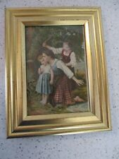 """FRAME, SMALL GOLD FRAME 6.75"""" X 5.25"""", HOLDS 5"""" X 3.5"""",w/ ANTIQUE TEA TRADE CARD"""