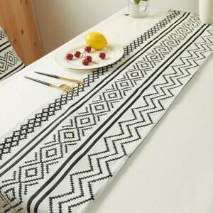 Braided Table Runner Set with Tassels Black and White Table Runner Geometric