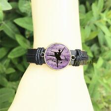 Ballerina Black Bangle 20 mm Glass Cabochon Leather Charm Bracelet