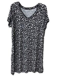 Women's Secret Treasures Sleep Shirt Gown Gray Black Pink Leopard SZ XL (16-18)