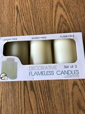 Decorative Flameless Vanilla Pillar Candles set of 3