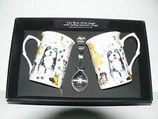 Dogs Mug & teabag squeezer Bone China mug with stainless teabag tongs - options