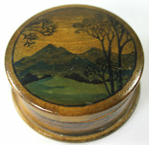 Vintage Carved Wood/Wooden Painted Face or Wig Powder Box