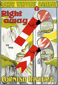 GWR - Right away to the Cornish Riviera Railway Travel A3 Art Poster Print