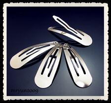 FREE Lot 50PCS Snap Hair Head Clips Pins Silver NWT Wholesale resell bulk 48mm